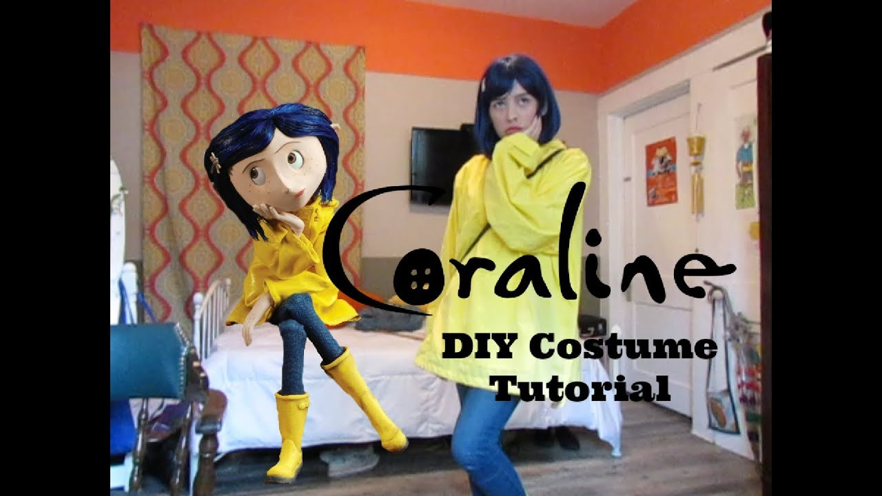 Easy Diy Last Minute Halloween Coraline Costume Tutorial Youtube