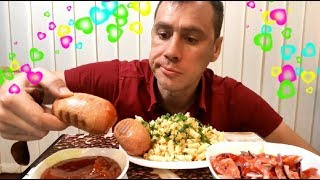 МУКБАНГ/макароны с сардельками, соус, салат/pasta with sausages/MUKBANG/eating show/먹방