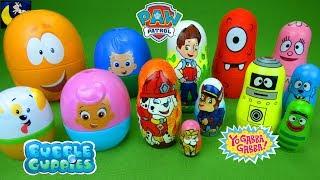 Lots of Surprise Toys Paw Patrol Bubble Guppies Yo Gabba Gabba Nesting Dolls Nick Jr Toys Video
