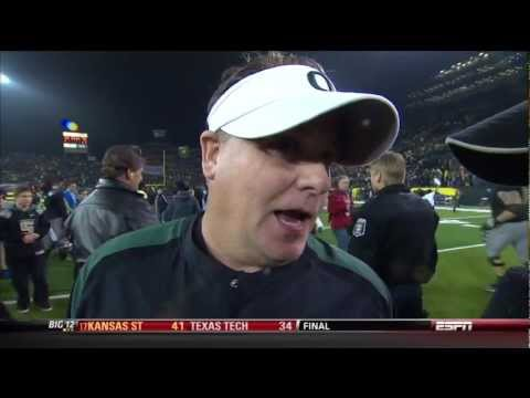 "Oregon Coach Chip Kelly:""Hey, will you shut up?"""