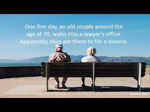 An old couple around the age of 70 file a divorce.
