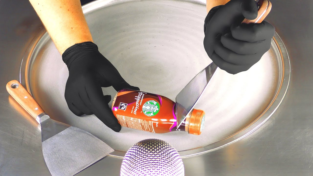 ASMR - STARBUCKS Ice Cream Rolls with frappuccino Mocha | how to make Coffee Drink to frozen Dessert