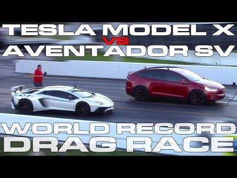 Tesla Model X P100D Ludicrous sets World Record vs Lamborghini Aventador SV Drag Racing