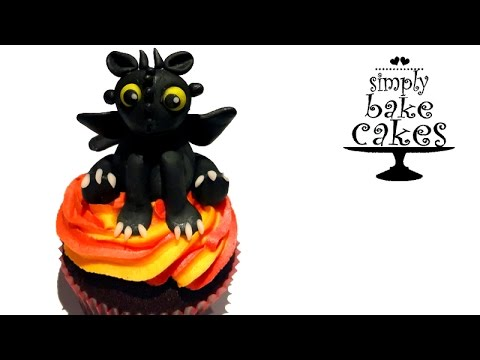 3D Toothless How to train your dragon cupcake topper TUTORIAL