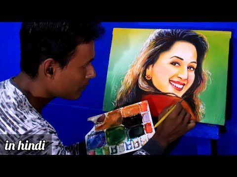 Madhuri dixit portrait drawing and  painting |Bollywood actor face drawing | acrylic techniques