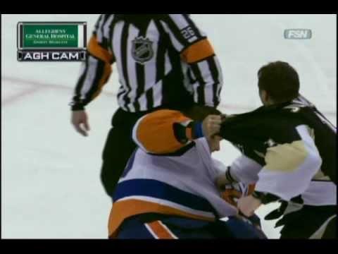 Goalie Fight: Brent Johnson KOs Rick Dipietro [2-2-11]