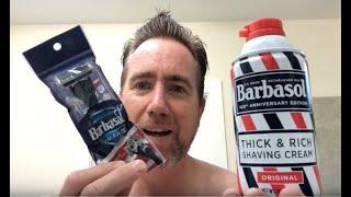 Shaving with a Barbasol Razor and Shaving Cream