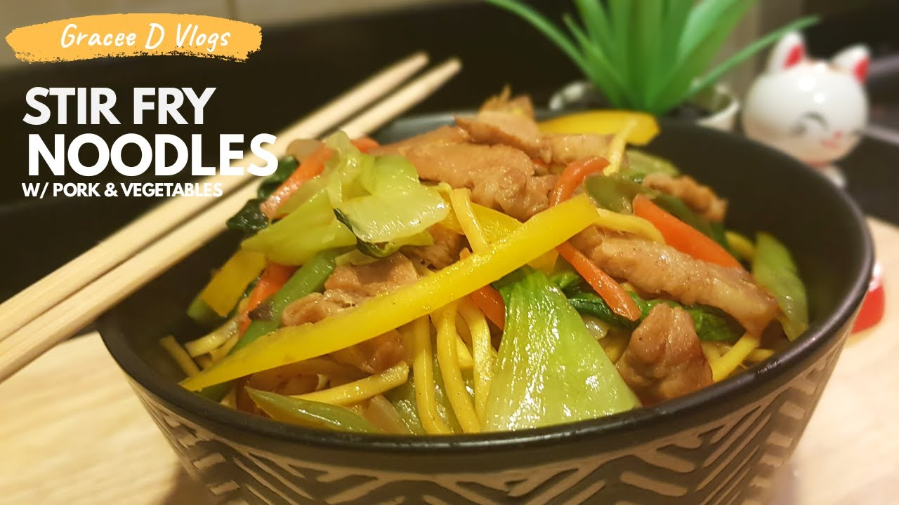 STIR FRY NOODLES WITH PORK AND VEGETABLES RECIPE
