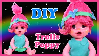 How To Make A Custom Poppy From Trolls Baby Alive Doll - And DIY Custom Art Doll LOL Repaint