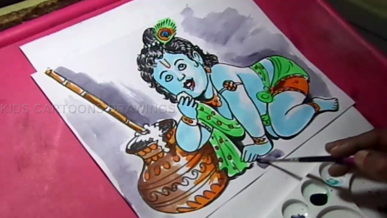 How To Draw Lord Child Krishna Drawing