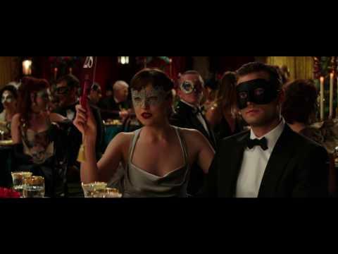 "FIFTY SHADES DARKER Movie Clip ""Ana bids on ski trip"" - Dakota Johnson & Jamie Dornan"