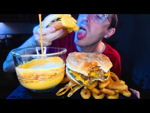 cheese-sauce-burger-king-feast!-cheddar-bacon-king-tacos-cheese-sticks-onion-rings-*-mukbang*