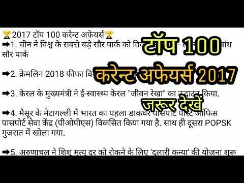 2017 top 100 most imp. current affairs questions | v imp current affairs 2017  hindi, MP SI ,IBPS PO