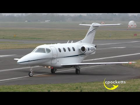 *Very nice* Beechcraft Premier I M-GDRS - Taxi and loud Take off - Gloucestershire Airport