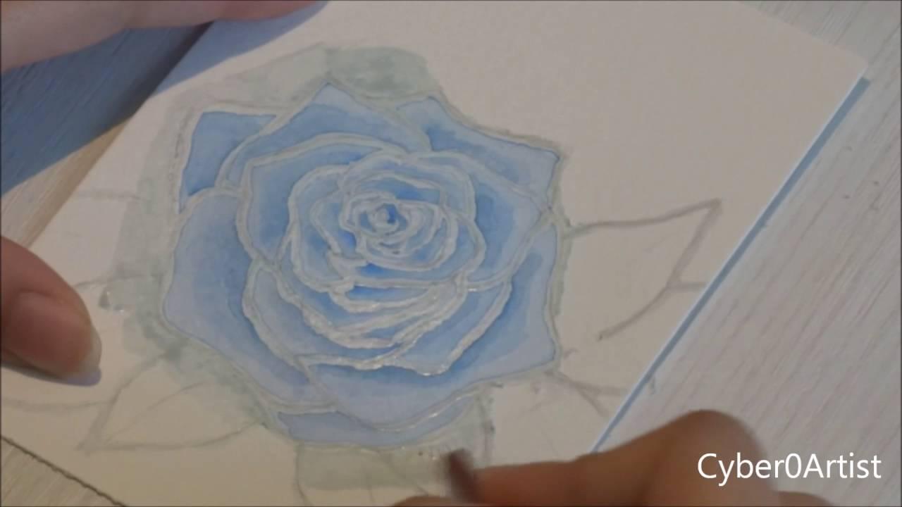 Dessin Aquarelle Rose Bleue Avec La Technique Du Drawing Gum