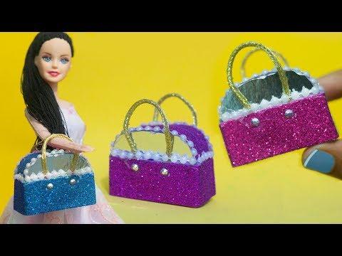 Miniature Bags DIY 👜 Easy Miniature Bag/Purse Tutorial for Barbie Doll ❤️ DIY Craft For Barbie
