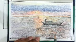 How TO Draw Scenery OF Sunset River And Boat.../Drawing From My Sketch book