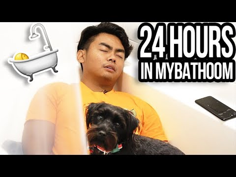 24 HOUR OVERNIGHT CHALLENGE IN BATHROOM!