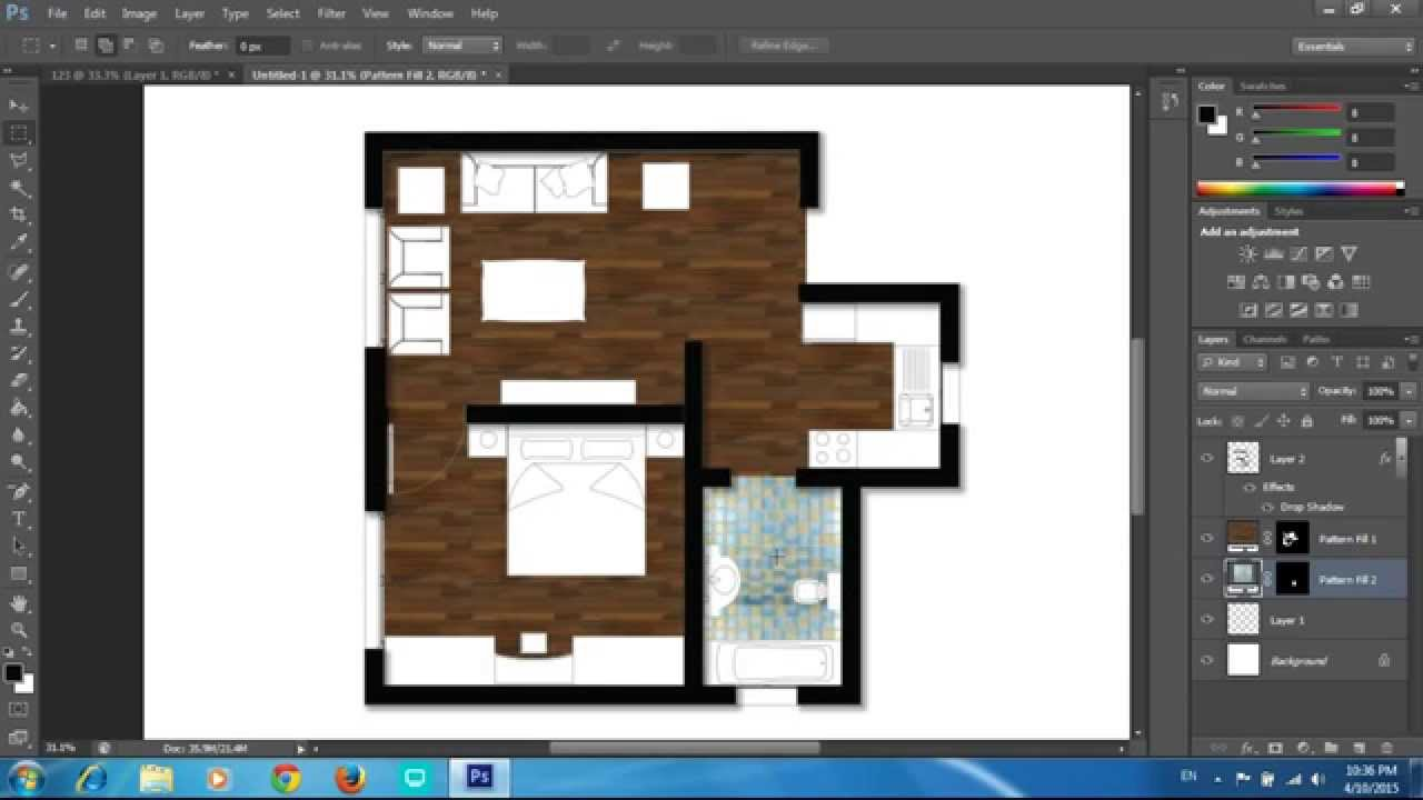 Adobe photoshop cs6 rendering a floor plan part 1 for Adobe floor