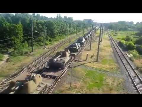 Эшелон военной техники РФ с закрашенными номерами на Украину Таганрог