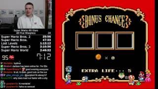 (2:45:25) Super Mario All-Stars - All Five Warpless speedrun *Former World Record*