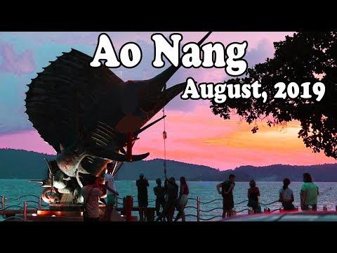 Ao Nang Krabi Thailand, August 2019. Ao Nang in Low Season. Krabi Food