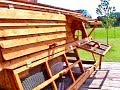 Good for 10-12 Chickens - 5' Tall Texas Made Chicken Coop with Cedar Roof