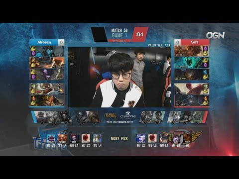 AFS (Marin Jarvan) VS SKT (Huni Shen) Game 1 Highlights - 2017 LCK Summer W6D5