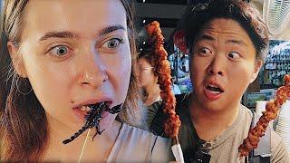 Уличная еда на рынке Таиланда! Шашлык из крокодила и жареный скорпион!