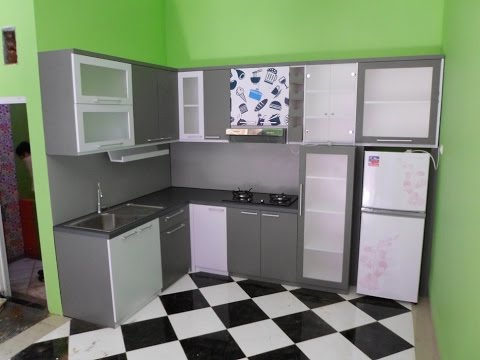 Furniture dapur kaca aluminium kayu hpl kitchen set for Kitchen set aluminium modern