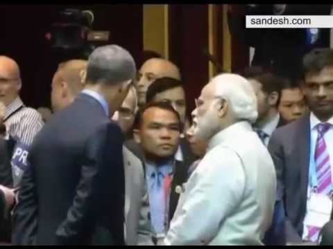 PM Modi and President Obama interacting during 11th East Asia Summit in Vientiane