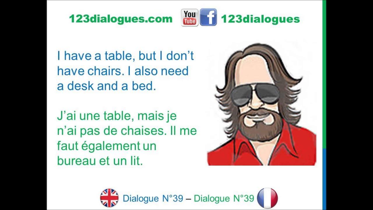 Dialogue 39 English French Anglais Francais Furniture Vocabulary
