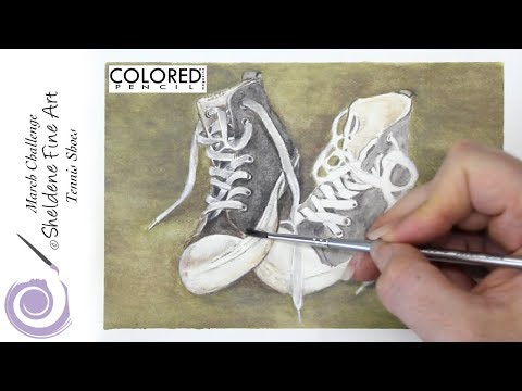 LIVE DEMO || Tennis Shoes - Colored pencil magazines March Challenge