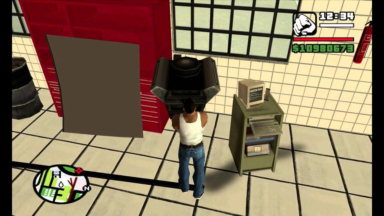 как открыть тюнинг гараж в gta san andreas