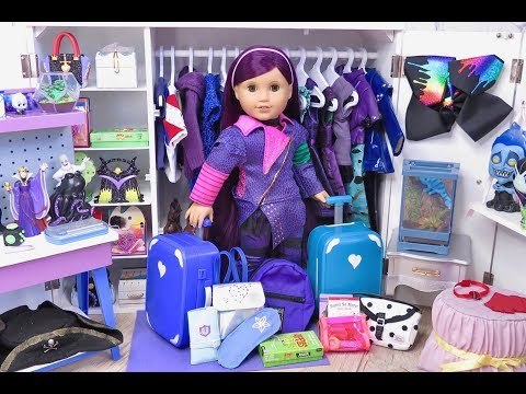 Packing American Girl Doll Mal Descendants 3 ~ Setting Up Doll Closet With Suitcases and Bags!