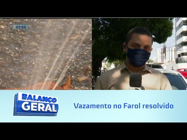 Chafariz inoportuno: Vazamento no Farol é resolvido