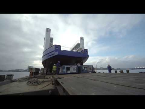 Launch hull RoPax Ferry 5212 at Niron Staal Amsterdam (part of Damen Shipyards Group)