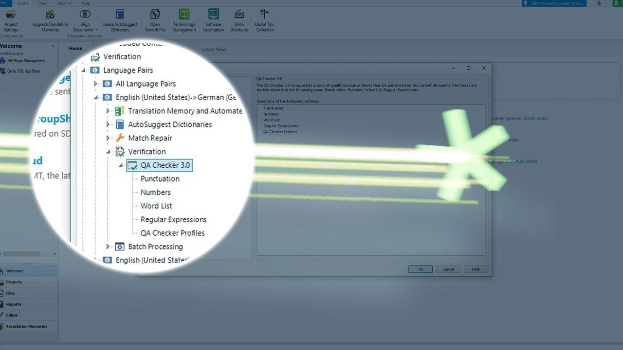 Eseguite controlli di qualità specifici per la lingua in SDL Trados Studio 2019