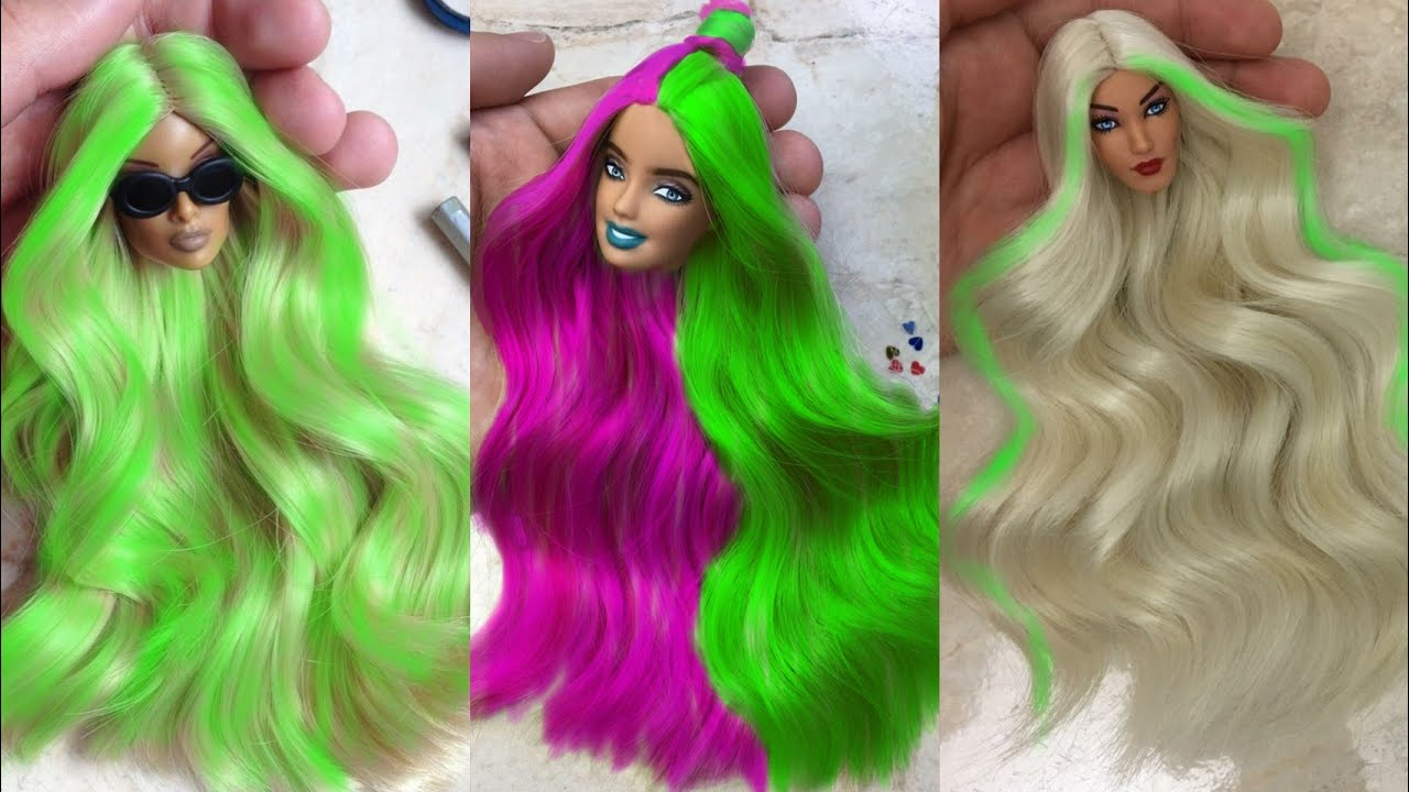 Barbie Doll Makeover Transformation 🌈 DIY Miniature Ideas for Barbie ~ Wig, Dress, Faceup, and More!