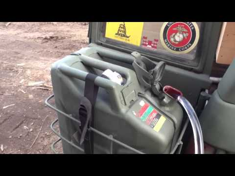 Siphon Fuel Transfer From Gas Can Mounted on Vehicle