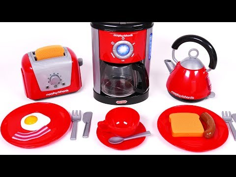 Cooking Breakfast with Coffee Machine Toaster and Kettle Toy Kitchen Appliances for Children