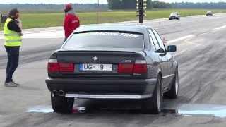 BMW M5 e34 VS Subaru impreza sti ! Вентспилс . Drag Race 2015 . 02. 08