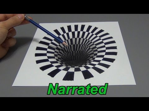 How To Draw A 3D Hole - Anamorphic Illusion (Narrated)