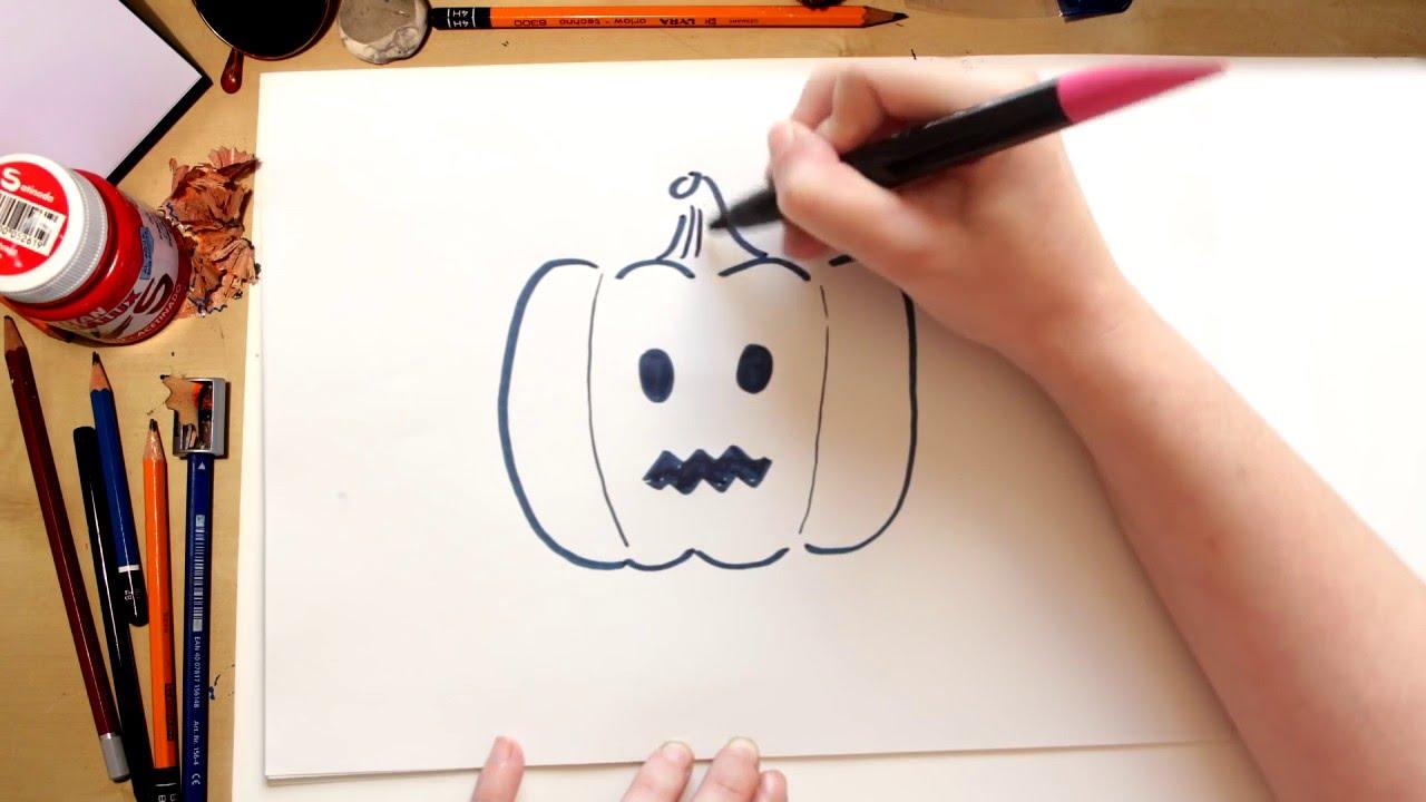 Como dibujar una calabaza dibujos de halloween para - Hacer calabaza halloween ...
