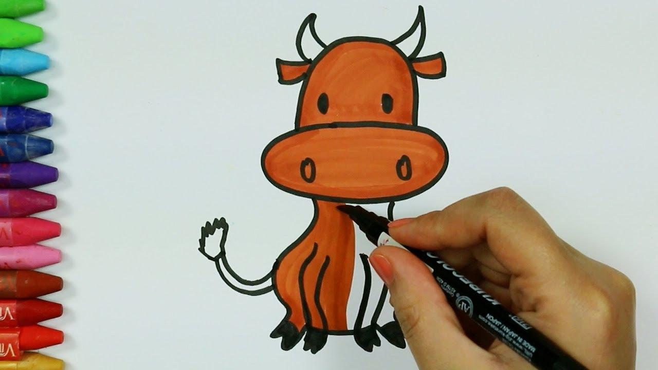 Dibujos para pintar y colorear 🌱 | Cómo dibujar ganado y gato ...