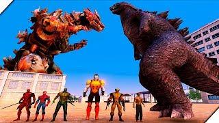 СУПЕР ГЕРОИ MARVEL против ГОДЗИЛЛЫ - Игра Ultimate Epic Battle Simulator.Битва супер героев.