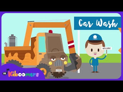Construction Car Wash Song for Kids  Construction Trucks for Children   The Kiboomers