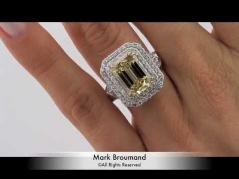 7.37ct Fancy Brownish Yellow Emerald Cut Diamond Engagement Ring 5 Carat-  Mark Broumand