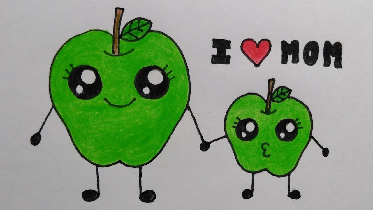 สอนวาดรูปแอปเปิ้ลวันแม่ทำการ์ดวันแม่| Drawing  cute Apples for MothersDay| MySkyChannel.
