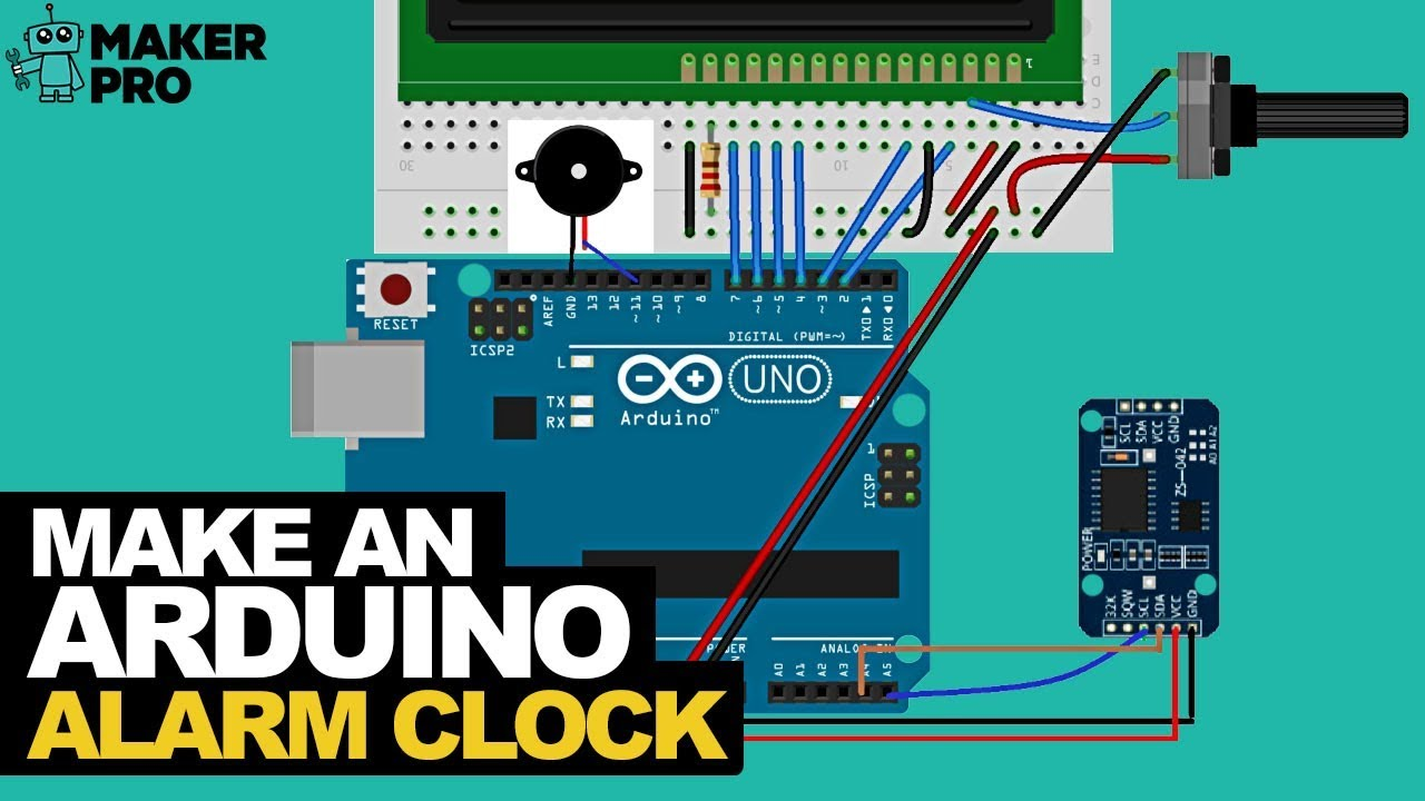 hight resolution of how to make an arduino alarm clock using a real time clock and lcd screen arduino maker pro